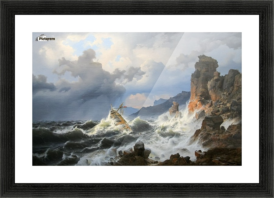 Storm on the sea at the Norwegian coast - Andreas Achenbach - Canvas Artwork