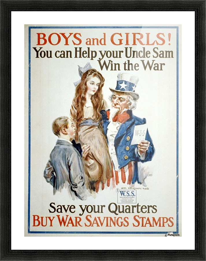 Boys And Girls Helping Uncle Sam Vintage Poster Canvas
