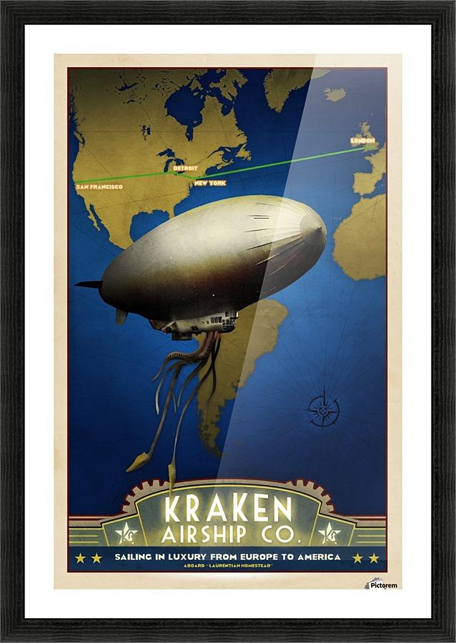Steampunk Dieselpunk Airship Art Deco Travel Poster