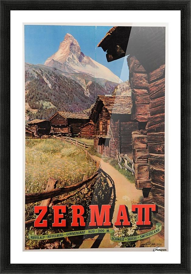 Original Vintage Swiss Travel Poster For The Zermatt