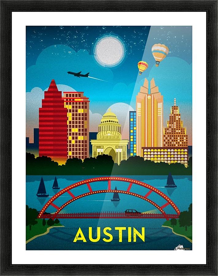 Austin vintage travel poster - VINTAGE POSTER Canvas