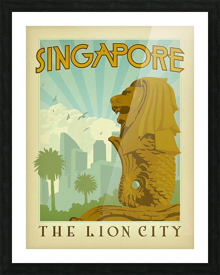 Singapore The Lion City Poster Vintage Poster Canvas