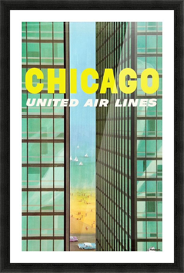 United Airlines Poster for Chicago - VINTAGE POSTER Canvas
