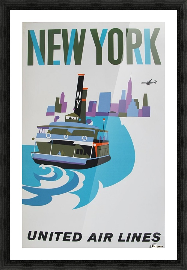 united airlines poster for new york vintage poster canvas