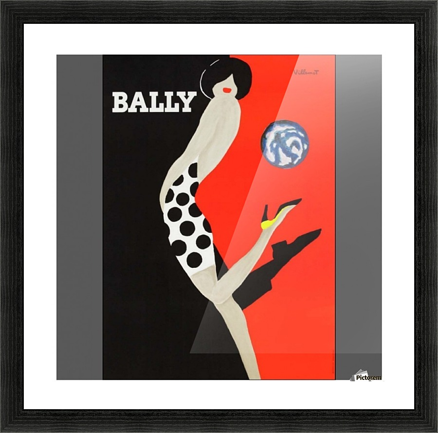 Bally Fashion Model red black painting Vintage Art Print Poster For Glass Frames