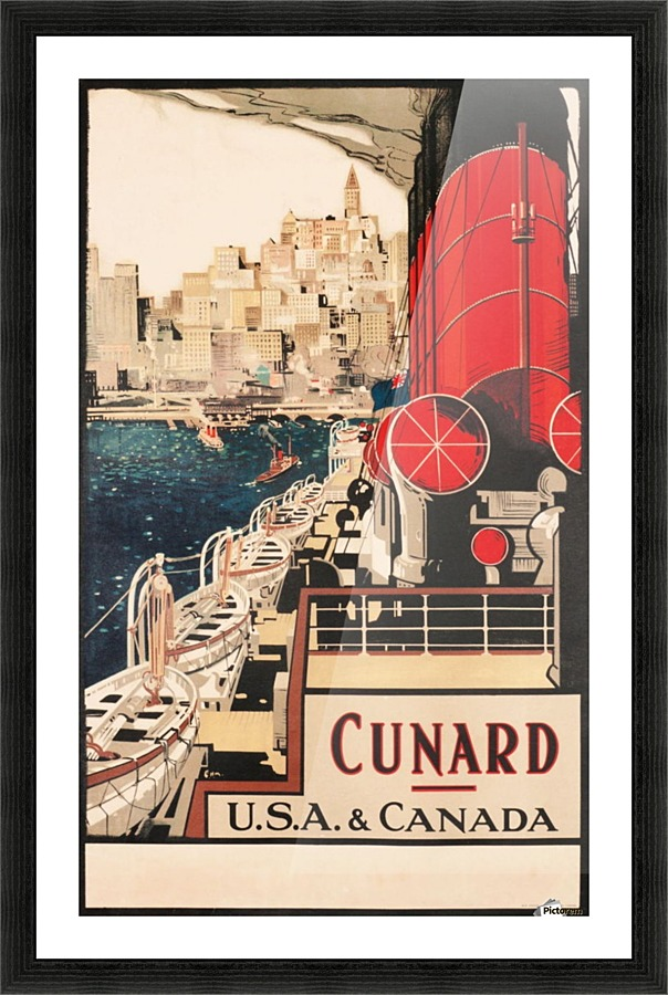 cunard usa and canada titans of the sea vintage advertising poster