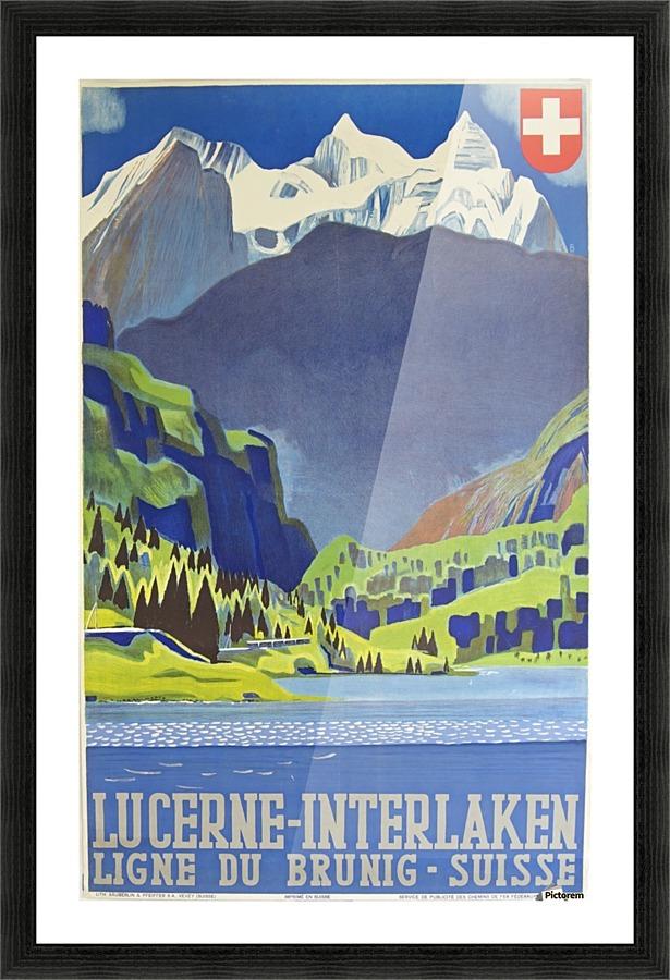 Swiss Alps Lucerne Interlaken Railway Travel Poster