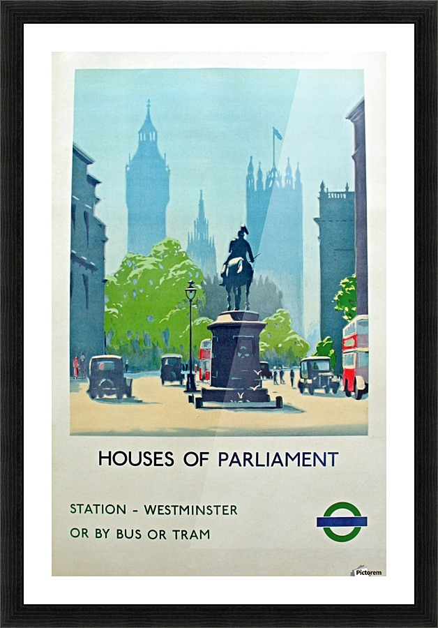 London Underground Houses Of Parliament Vintage Poster