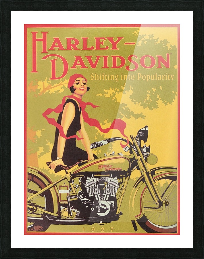 1929 Harley Davidson Shifting Into Popularity Vintage Poster Canvas
