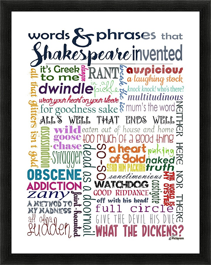 Shakespeare Words Amp Phrases Whimsically Read Canvas