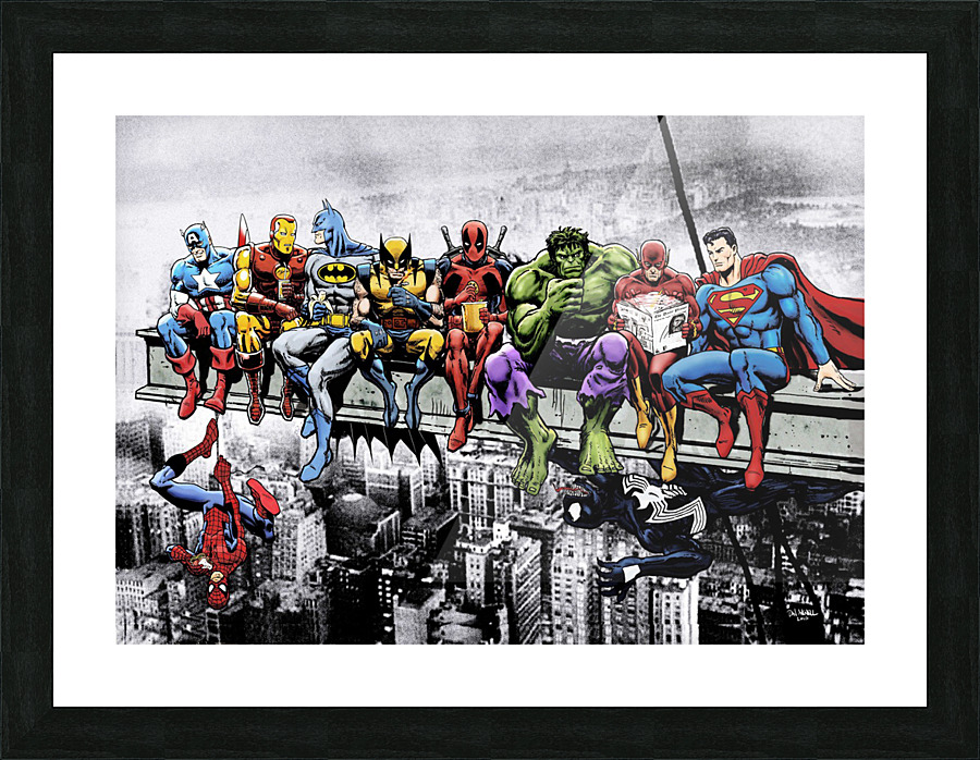 Marvel and DC Superheroes Lunch Atop A Skyscraper Featuring Captain ...