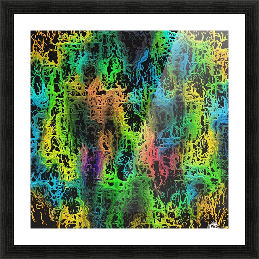 Psychedelic geometric painting abstract in green blue yellow pink psychedelic geometric painting abstract in green blue yellow pink and black picture frame printing jeuxipadfo Images