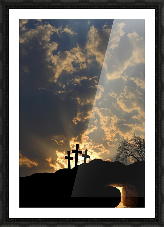 Empty Tomb And Three Crosses Picture Frame Printing