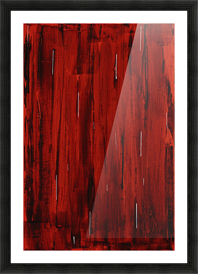 Rain Abstract Painting In Red And Black Acrylic Painting
