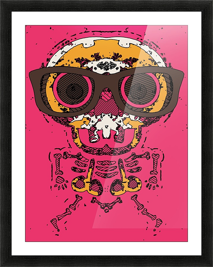 funny skull and bone graffiti drawing in orange brown and pink ...