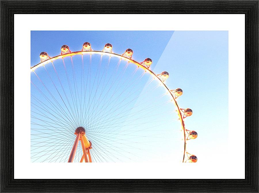 orange Ferris Wheel in the city with blue sky - TimmyLA Canvas