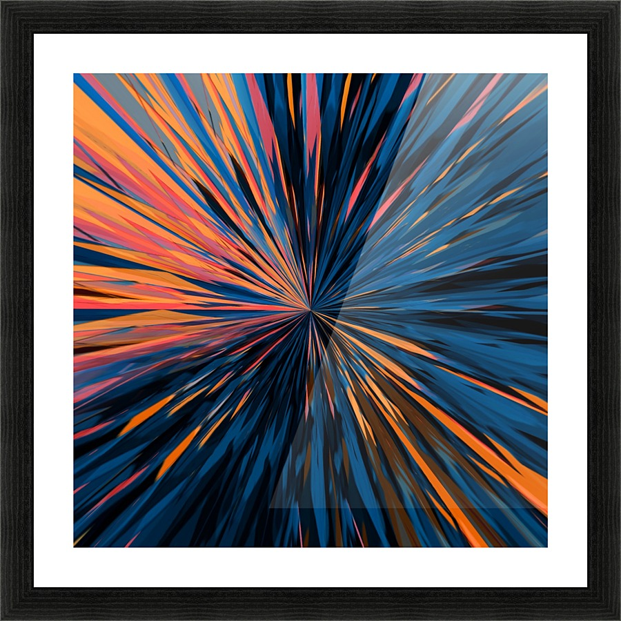 Psychedelic Splash Painting Abstract Pattern In Orange Brown Pink Blue Picture Frame Printing
