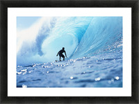 Hawaii, Oahu, North Shore, Silhouette Of Surfer In Pipeline Barrel Picture Frame print