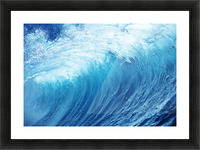 Inside Glassy, Blue Wave Curling Over, Closeup Picture Frame print