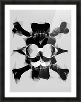 psychedelic skull art geometric triangle pattern abstract in black and white Picture Frame print