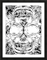 psychedelic skull art geometric triangle abstract pattern in black and white Picture Frame print