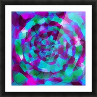 psychedelic geometric polygon pattern abstract in pink purple blue Picture Frame print