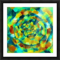 psychedelic geometric polygon pattern abstract in blue yellow green brown Picture Frame print
