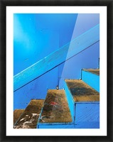 blue and brown old wood stairs with blue wall background Picture Frame print