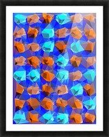 geometric polygon abstract pattern in blue and brown Picture Frame print