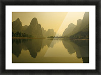China, Guilin, Piled Silk Mountains, Li River With Reflections In Water A72H Picture Frame print