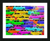 vintage car toy background in yellow blue pink green orange Picture Frame print