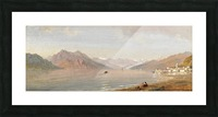 Lake view with mountains in the back Picture Frame print