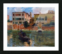 A gondola traveling along a canal in Venice Impression et Cadre photo