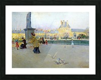 City view with figures and birds in Paris Impression et Cadre photo