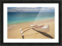 White Outrigger Canoe On Shoreline With Shadow, Calm Turquoise Water Picture Frame print