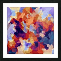 psychedelic geometric polygon pattern abstract in orange brown blue purple Picture Frame print