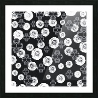 vintage skull and rose abstract pattern in black and white Picture Frame print