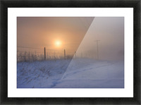 Foggy Winter Sunrise Over Barbed Wire Fence And Hydro Lines, Alberta Prairie Picture Frame print