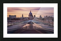 Millennium bridge leading towards St. Paul's church Picture Frame print