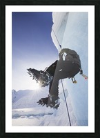 A Man Climbs A Rope Anchored On The Top Of Shakes Glacier, Stikine-Leconte Wilderness, Tongass National Forest, Southeast Alaska Picture Frame print