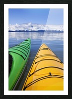 Kayakers enjoy a tranquil morning paddle in Lynn Canal, Alaska, near Juneau. Chilkat Mountains beyond. Picture Frame print