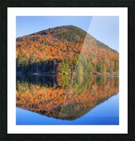 Mountain reflected in Sugarloaf pond in autumn; Quebec, Canada Picture Frame print