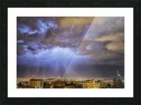 Lightning lights up the night skies above the city of Cochabamba; Cochabamba, Bolivia Picture Frame print