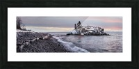 Rocks and ice on Lake Superior; Thunder Bay, Ontario, Canada Picture Frame print