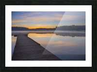 Reflection of a beautiful serene sunrise on peaceful Scott lake; Washington, United States of America Picture Frame print