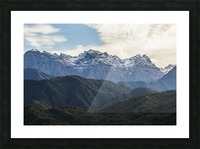 Panoramic view of the Greater Caucasus Mountains, as seen from the road between Jvari and Mestia, Zemo Svaneti National Park; Samegrelo-Zemo Svaneti, Georgia Picture Frame print