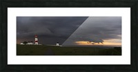 Souter Lighthouse under ominous storm clouds; South Shields, Tyne and Wear, England Picture Frame print