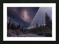 Night skies above Chugach Mountains and Eagle River Valley on winter solstice in South-central Alaska; Alaska, United States of America Picture Frame print