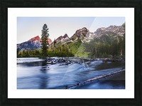 Teton Range and String Lake at sunrise, Grand Teton National Park; Wyoming, United States of America Picture Frame print