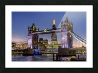 Shard with Tower Bridge at sunset; London, England Picture Frame print